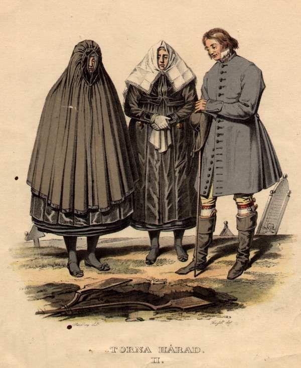"""Sorgdräkt, Torna härad, Skåne, Sweden (Mourning Garb) Notera """"kåvan"""" (kåpan) t.v., ett specifikt sorgplagg som enbart bars på detta vis, trots att det är sytt att likna en öppen livkjol. Teckning: J.G. Sandberg ur """"Ett år i Sverige"""" av Sandberg/Grafström (1864)"""