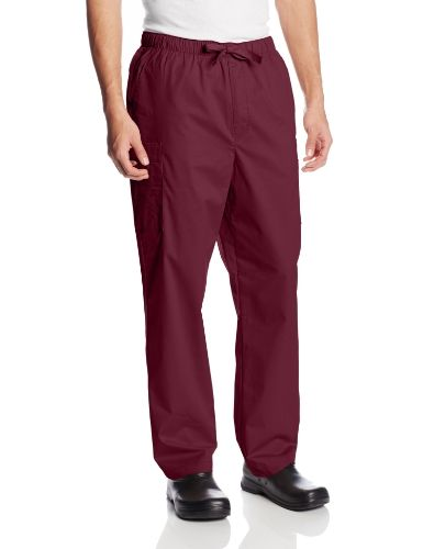 Cherokee Workwear Scrubs Men's Stretch Utility Pant, Wine, Small