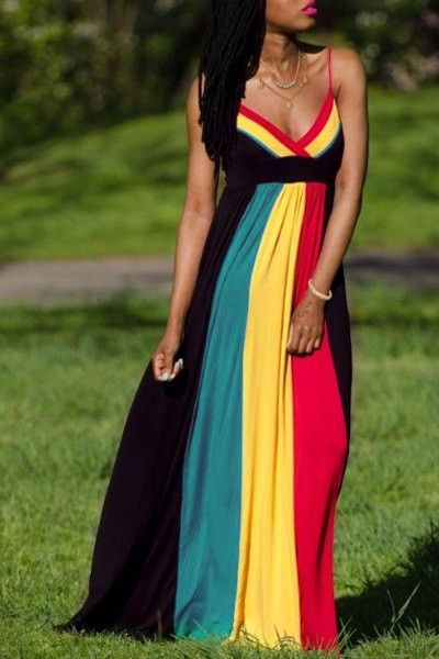 African Global Sleeveless Color Block Dress
