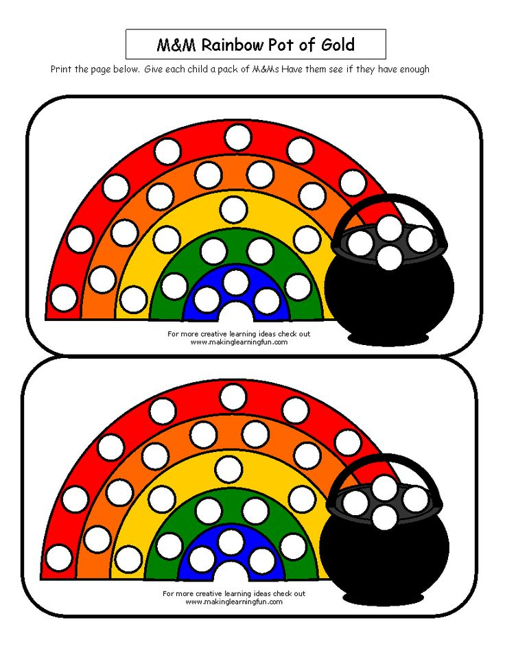 Use M&Ms or Skittles to fill in the rainbow -- file found at makinglearningfun.com