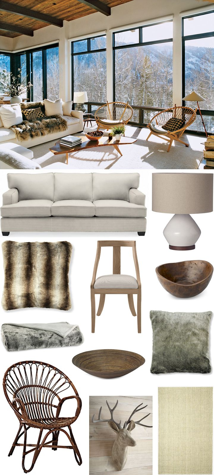 CHIC COASTAL LIVING: GET THE LOOK: Aerin Lauder's Cozy Aspen Ski Chalet @Williams-Sonoma Home  @Serena &  Lily