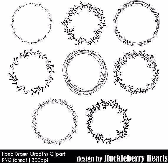 Hand Gezeichnet Kranz Clipart Digitale Kranze Hochzeit Cliparts Blumen Blatter Bedruckbar Kommerzielle Nutzung How To Draw Hands Wreath Drawing Clip Art