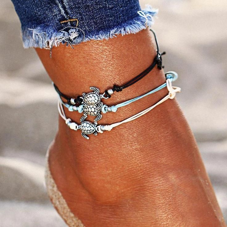 3pcs Alloy Plated Women Turtle Pendant Bracelet Leather Foot Chain Anklet