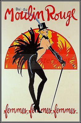 Bal du Moulin Rouge French Vintage Poster Art Print Theater Femmes Women Dance