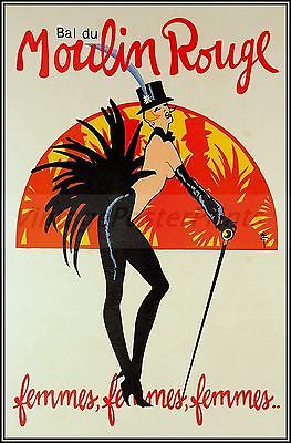 Bal du Moulin Rouge French Vintage Poster Art Print Theater Femmes Women Dance