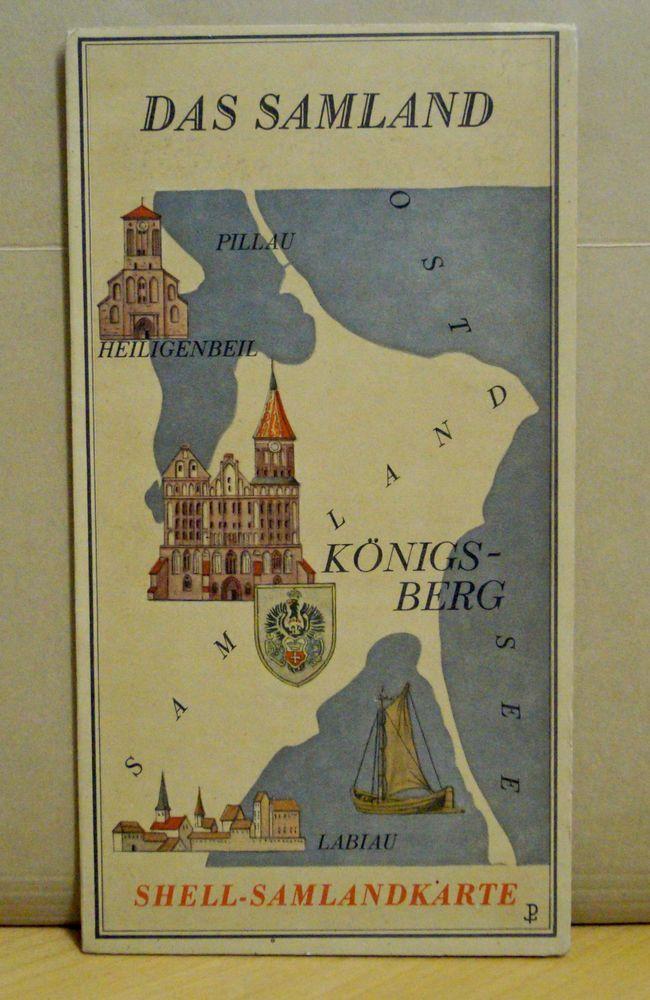 Shell-Karte Das Samland, mit Königsberg, Pillau, Heiligenbeil, Cranz, Labiau