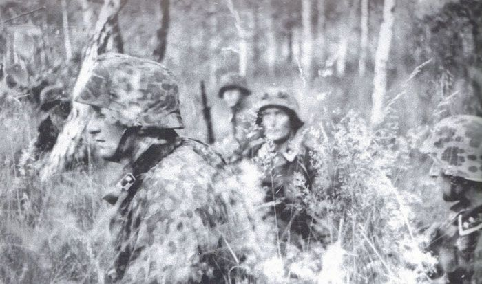 """Completely effective Eichenmustern A camouflage tarnjacke and Stalhelm covers worn by these """"Liebstandarte"""" troops.The officer in the forground is the eventual """"LAH"""" regimental commander and Oakleaves winner Albert Frey."""