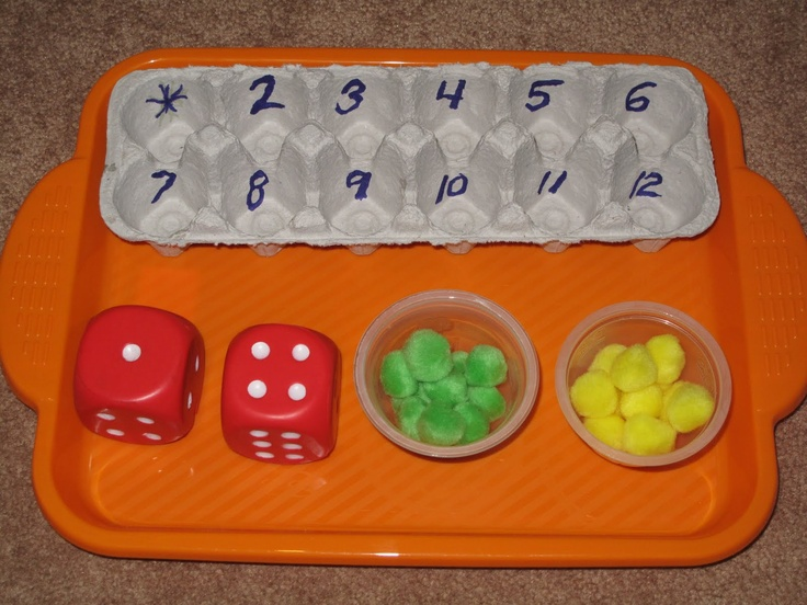 Brilliantly simple counting activity for kindergarten math. Roll the dice, count the dots, and fill the egg carton appropriately. SC-CC-MA-2010.K.CC.4Understand the relationship between numbers and quantities; connect counting to cardinality.