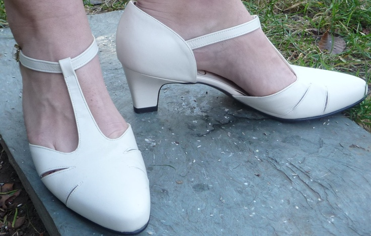 Dressy Cream T Strap Mary Jane Shoes Low Heels Ivory