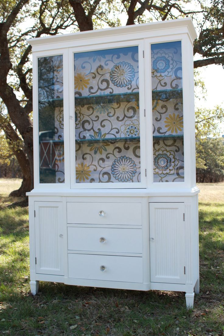 Modern cottage painted china cabinet reserved for angela for Painted cabinet ideas