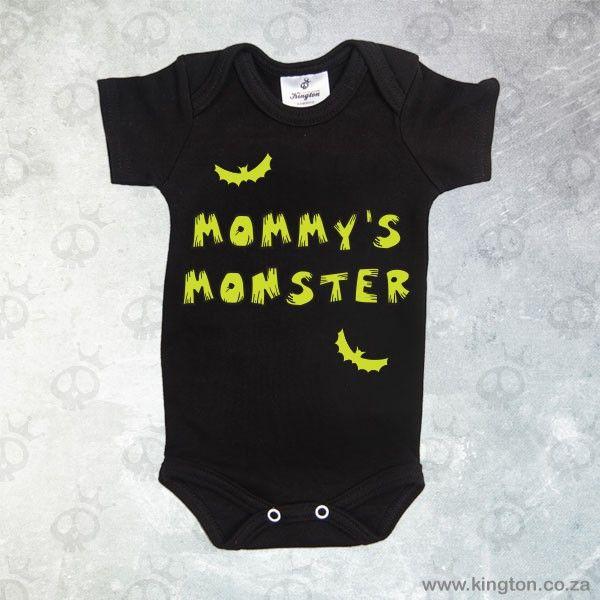 Mommy's Monster - Black babygrow with Mommy's #Monster lettering & #bats. #KingtonKustomKulture