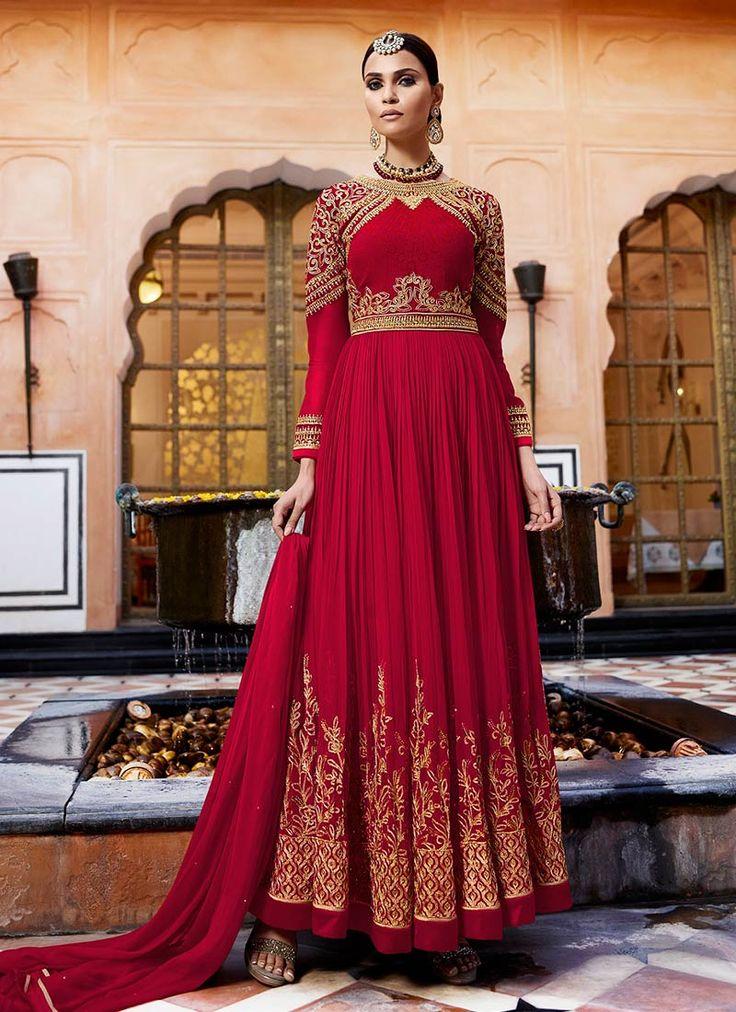 Buy Maroon Georgette Abaya Style Anarkali Suit, anarkali-suit Online Shopping, SLSCCL11001