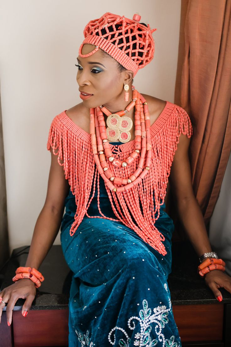The bride dressed as a traditional Esan bride before the ...
