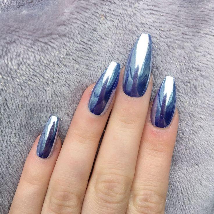 Doobys Nails - Mirror Chrome Blue Silver Long Coffin - 10 Glue on False Nails #DoobysNails