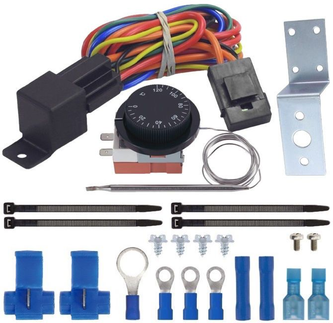 Auto Adjustable Thermostat 32-248'F Electric Cooling Fan Probe Sensor Switch Kit