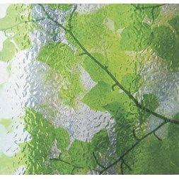 Vindusfolie GLS-4654 - Ruglete glass med påtrykt mønster av grønne blad. Svært dekorativ og livfull folie.