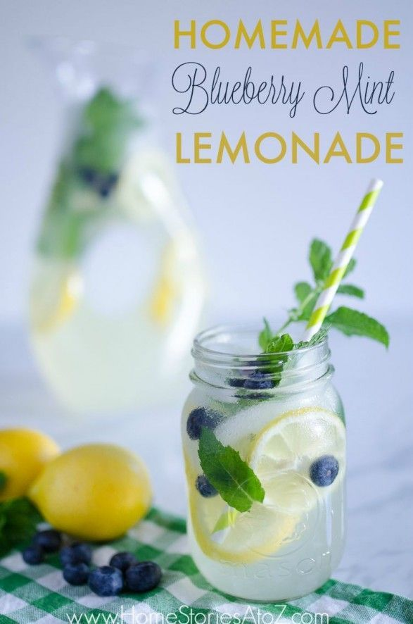 """Blueberry Mint Lemonade Recipe. Soooo good! Can be made into an """"adult"""" beverage with addition of vodka."""