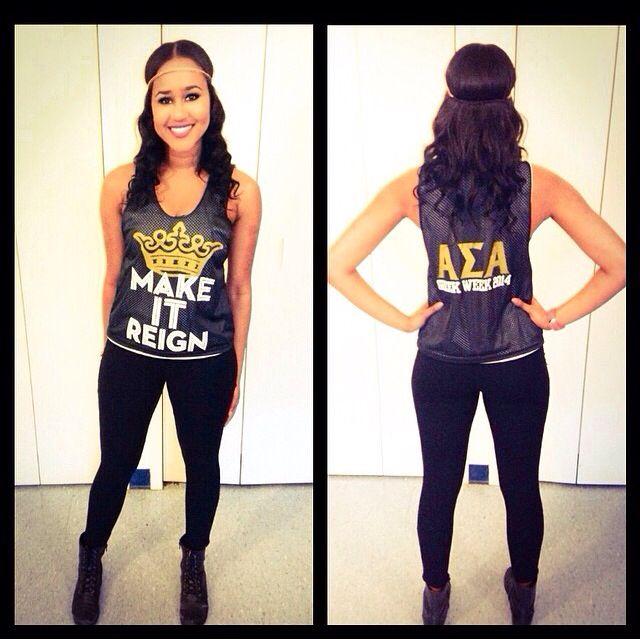 Alpha Sigma Alpha (Gamma Phi Chapter) Greek Week 2014 Shirt. Make It Reign.