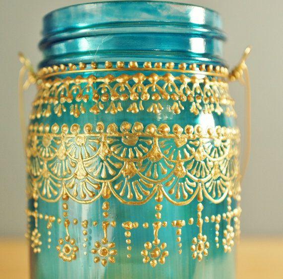 Moroccan Designed Mason Jar Lantern, Teal Glass with Gold Detailing