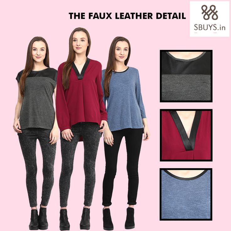 Its leather season! Smart Faux Leather Detailed Tops! Buy Now! Trending this season! www.sbuys.in