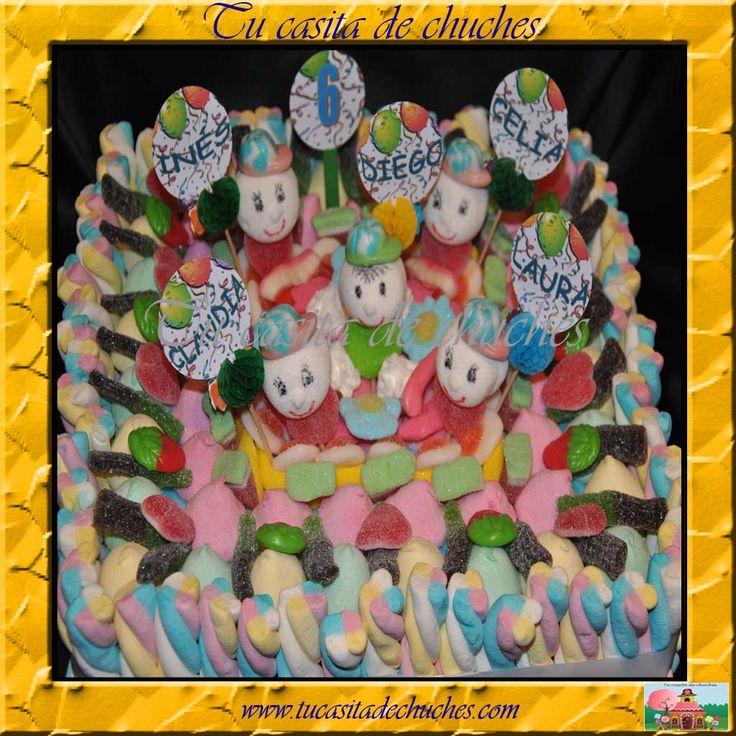 Gran tarta de chuches, perfecta para compartir entre varios protagonistas en cumpleaños. Sin gluten. DIsponible en www.tucasitadechuches.com
