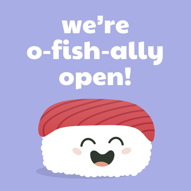 "Sushi Moji's Cute Tuna Nigiri ""we're o-fish-ally open"" sushi puns"