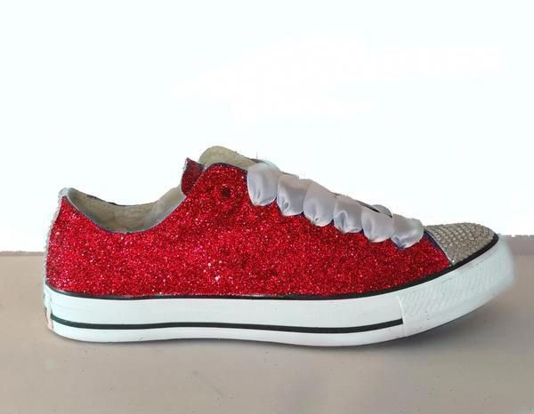 Womens Sparkly Red Glitter Converse All