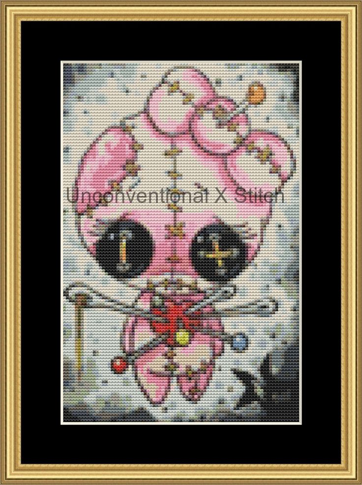 Voodoo Pink girl mini voodoo doll cross stitch pattern - Licensed Sugar Fueled by UnconventionalX on Etsy
