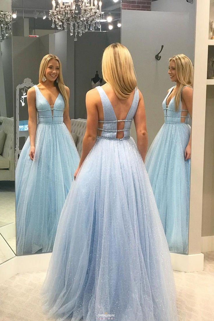 Buy sparkly long blue prom dress v neck tulle with beading