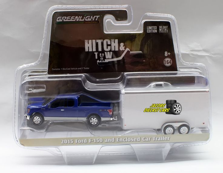 Greenlight Hitch & Tow 2015 FORD F-150 AND ENCLOSED CAR TRAILER  Hobby Exclusive #Greenlight #FordF150