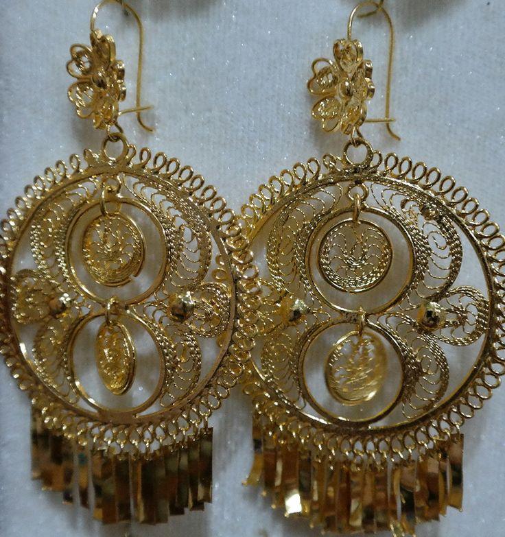 aretes de filigrana bañados en oro de Juchitán #joyería ...