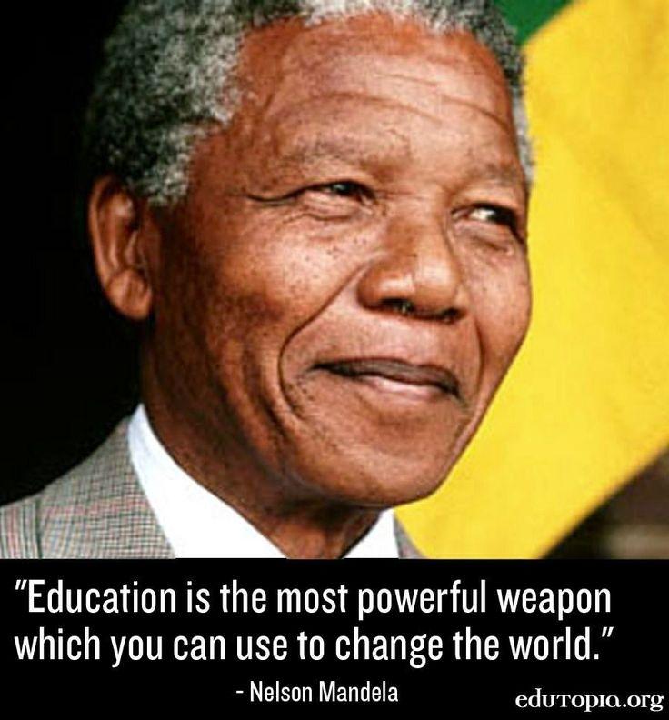 Nelson Mandela Education quote via www.Edutopia.org | Card ...