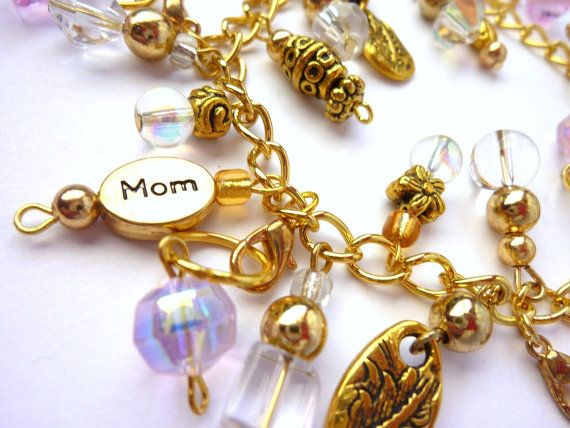 Charm bracelet with Mom charm and 6 removable by PurpleGeckoStudio
