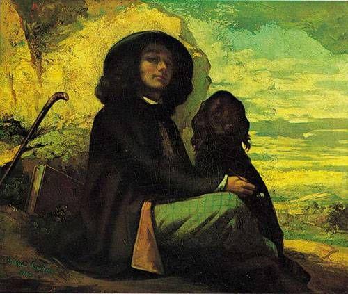 쿠르베  검은 개와 라티스테의 초상, 1842  캔버스에 유채, 46 x 55 cm.      파격적인 사실주의 사조의 그림을 그리기 전 작품으로 대상의 사실적 묘사가 나타나 있다.  주제적으로는 파격적이거나 그런 모습이 나타나지 않는 평범한 그림이다.  이후에 주제로나 기법으로나 회화계에 파격적인 작품들을 많이 선보이게 된다.