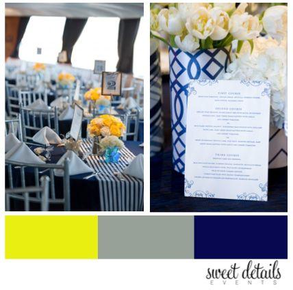 Yellow, Grey, Navy wedding ideas