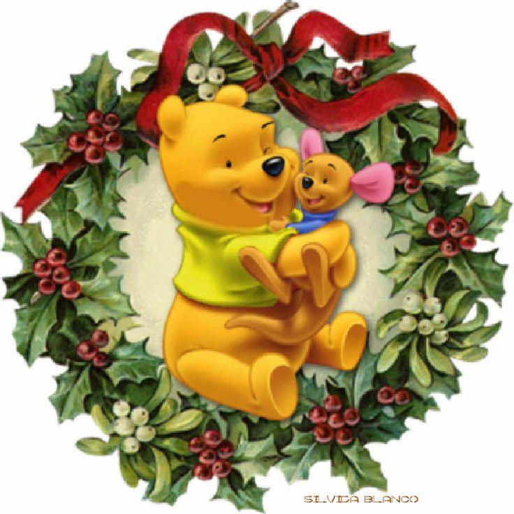 CHRISTMAS WINNIE THE POOH WREATH CLIP ART