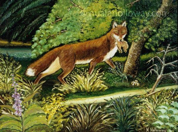 """A Cunning Catch"" by Nuala Holloway - Oil on Board #Fox #IrishArt #Wildlife"