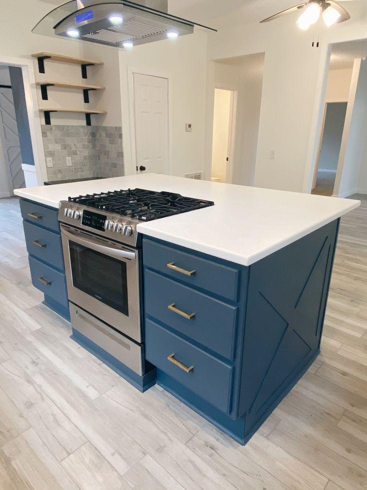navy island with brass fixtures in 2020 kitchen appliances kitchen home decor on farmhouse kitchen navy island id=12126