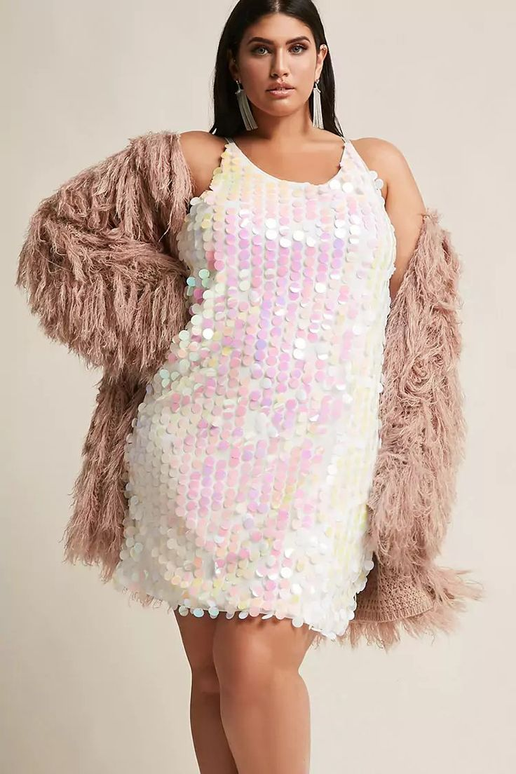Product Name:Plus Size Oversized Iridescent Sequin Dress, Category:CLEARANCE_ZERO, Price:35