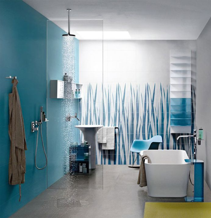 Great Colour Trend in Bathroom Wallcovering #bath, #interior, #decor, #wallcoverings, #walls, #walldecor in Bathrooms