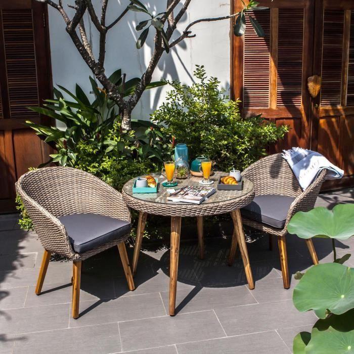 ensemble de mobilier de jardin 2 places
