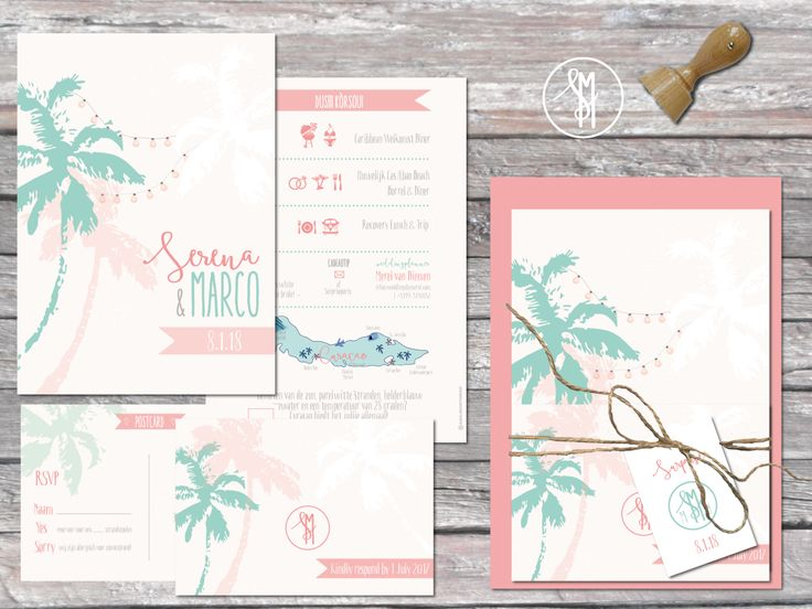 Trouwen op curaçao. Mooie trouwhuisstijl met kaart, ticket en RSVP. Parelmoer poedertinten, mint, koraal, perzik. #trouwkaarten #trouwencuracao #aagjeontwerp