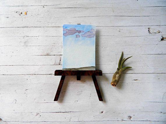 Aceo minimalista di paesaggio astratto in acquerello di MarMusArt