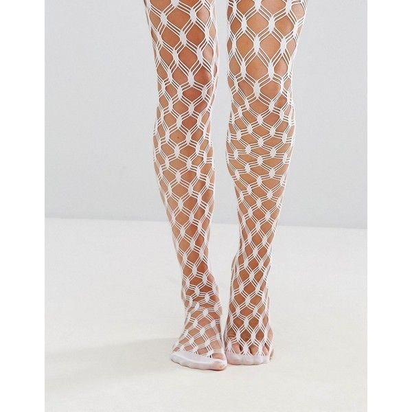 ASOS Criss Cross Fishnet Tights ($13) ❤ liked on Polyvore featuring intimates, hosiery, tights, white, sheer stockings, fishnet stockings, white sheer stockings, white tights and white stockings