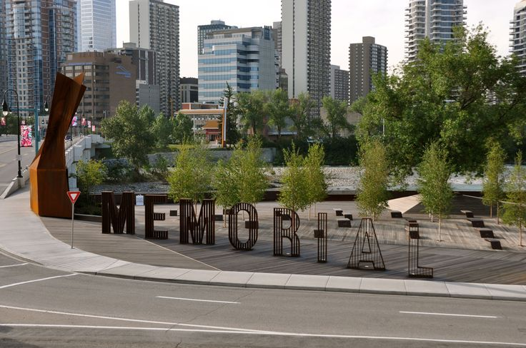 The Calgary Solider's Memorial, Poppy Plaza. Located at Memorial Drive and 10 Street NW Calgary, Alberta. Wood supplied by Kayu Canada Inc. #yyc