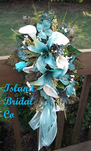 Bride Silk Wedding Bouquet Blue Hawaii Turquoise White Lily Custom Design 15 PC | eBay