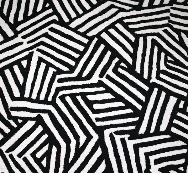 Black And White World Map Rug: Crosshatch Pattern Hand Tufted Black And White Rug. 2005