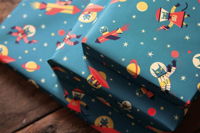 The first of three beautiful wrapping paper designs being released just in time for Xmas/Hanukkah season is a print by Ben Newman