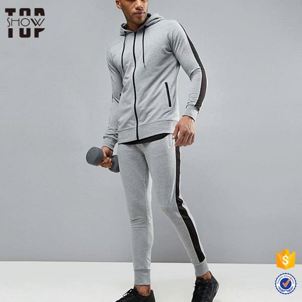 China suppliers zip front latest design velour tracksuit for men sportswear