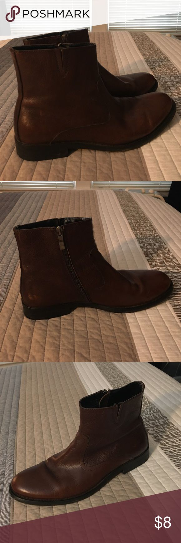 Kenneth Cole brown zip up boots Worn a few times. Only wear is on the bottom. Great shape. Kenneth Cole Reaction Shoes Chukka Boots